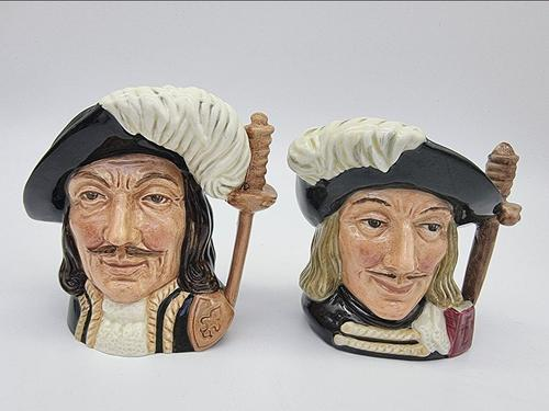 A Pair of Small Royal Doulton Musketeer Toby Jugs (1 of 9)