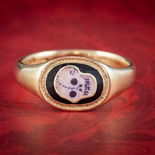 Antique Edwardian Memento Mori Skull Signet Ring 18ct Gold Dated 1902 (1 of 8)