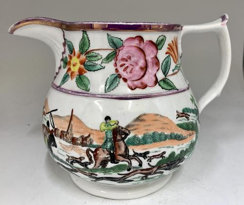 Antique Staffordshire Pottery Jug Country Sporting Pursuits c.1850 (1 of 9)