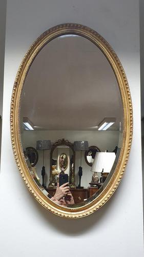 Very Nice Edwardian Oval Gilt Mirror (1 of 3)