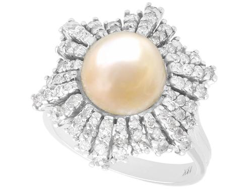 Natural Saltwater Pearl & 0.95ct Diamond, 18ct White Gold Dress Ring c.1930 (1 of 12)