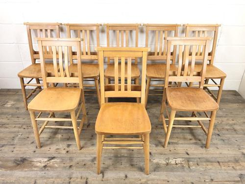 Set of Eight Vintage Beech Chapel Chairs (1 of 16)