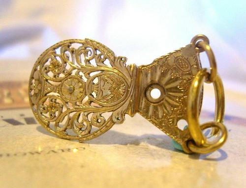 Georgian Pocket Watch Chain Fob 1830s Antique Large Brass Verge Balance Cock Fob (1 of 9)