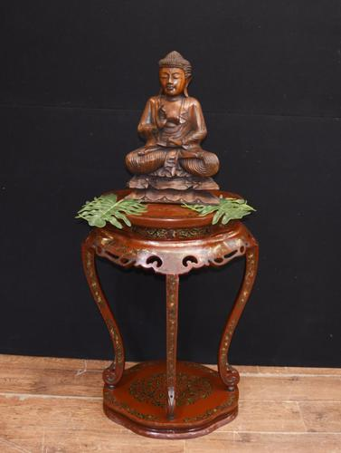 Chinese Pedestal Stand Table in Cinnabar Lacquer Chinoiserie (1 of 26)