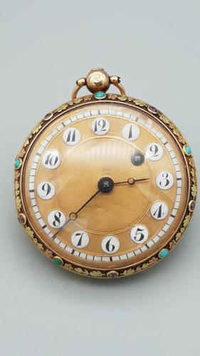 Rare 18th Century French 18k Gold Turquoise & Ruby Pocket Watch (1 of 10)