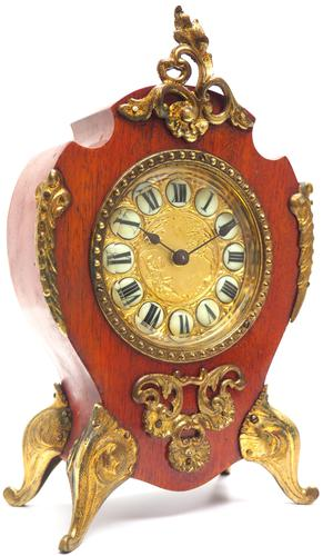 Antique French Mahogany & Ormolu Boulle Mantel Clock Shield Boulle Case. (1 of 7)
