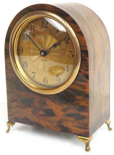 Antique Shell Mantel Clock Fine Arched Top Clock with Brass Dial 8-Day Timepiece Mantle Clock (1 of 9)