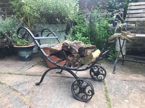 Wrought Iron & Brass Log Cart (1 of 8)
