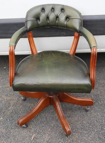 1960s Mahogany Green Leather Swivel Office Chair (1 of 3)