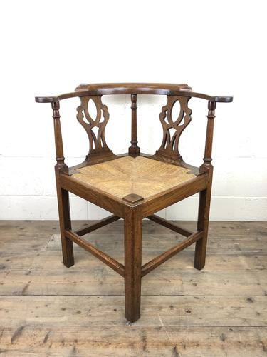 Antique 19th Century Oak Corner Chair with Rush Seat (1 of 10)