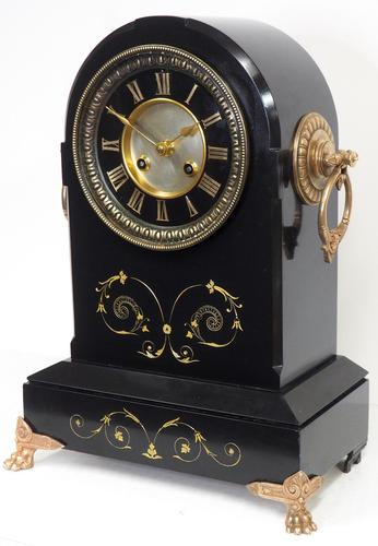 Antique French Slate Mantel Clock 8-Day Arch Top Striking Mantle Clock with Gilt Decoration (1 of 9)