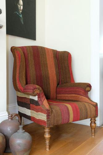 Antique Oak Chair with Multicoloured Afghan Kelim (1 of 9)