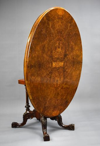 Victorian Burr Walnut Oval Loo Table (1 of 9)