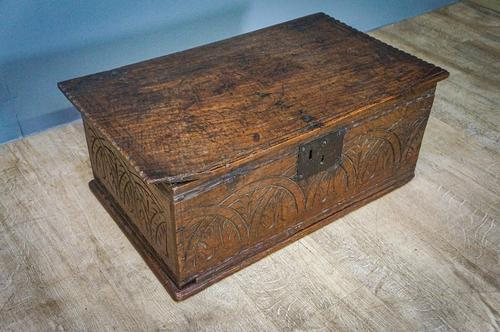 17th Century Carved Oak Bible Box (1 of 4)
