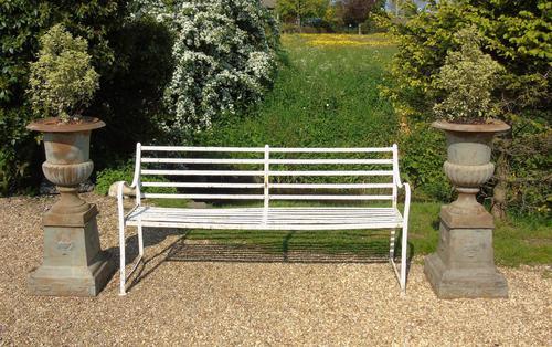 English Regency Wrought Iron Strapwork Garden Bench (1 of 9)