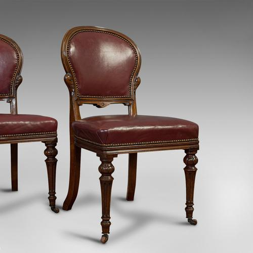 Pair of Antique Chairs, Walnut, Leather, Seat, Doveston, Bird & Hull, Victorian (1 of 12)