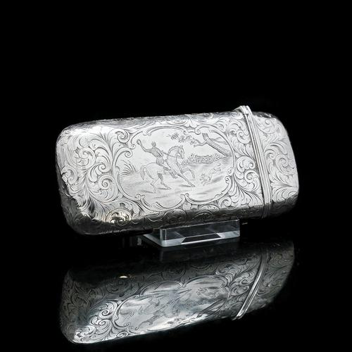 Victorian Solid Silver Cheroot / Cigar Case with a Hand-Engraved Hunting Scene - Alfred Taylor 1853 (1 of 15)