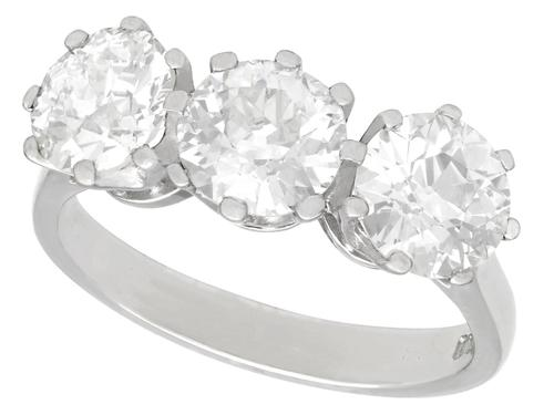 Gia Certified 3.09ct Diamond & Platinum Trilogy Ring - Antique & Contemporary (1 of 9)