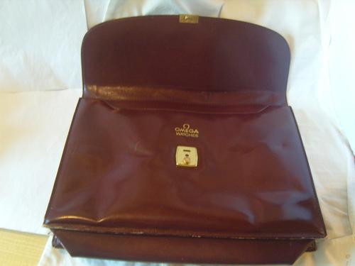 Vintage Omega Watches Official Document Wallet 1970s Large Burgundy Leatherette (1 of 6)