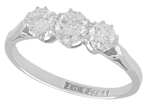0.80ct Diamond & 18ct White Gold Three Stone Ring - Antique c.1920 (1 of 9)