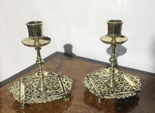 Pair Victorian Brass Candlesticks Townsend (1 of 5)