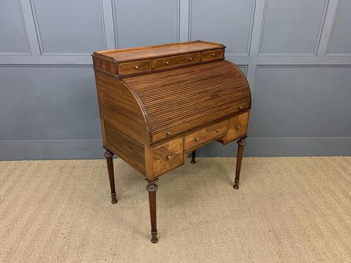Maple & Co Inlaid Mahogany Tambour Cylinder Desk (1 of 22)