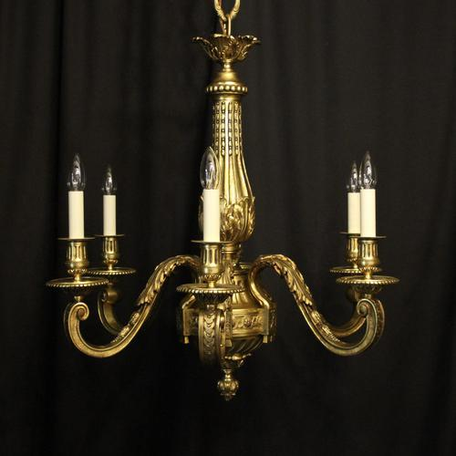 French Gilded Bronze 6 Light Antique Chandelier (1 of 10)