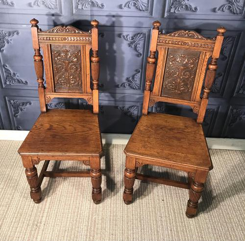 Pair of Victorian Oak Hall Chairs (1 of 17)