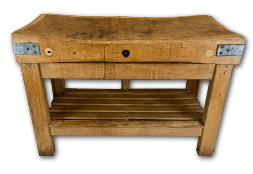 Early 20th c Butchers Block On Pine Stand (1 of 7)