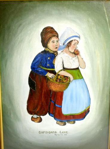 Early 20th Century Dutch Comical oil on canvas by H Rowbotham (1 of 12)