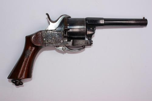 French 19th Century 6 Shot 7mm Double Action Pinfire Revolver (1 of 4)