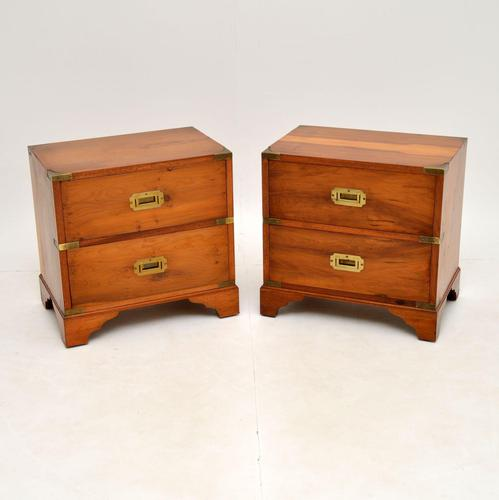 Pair of Antique Military Campaign Yew Wood Bedside Chests (1 of 9)