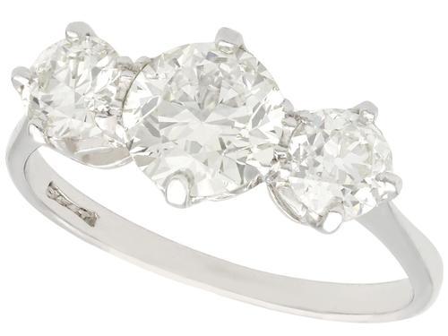 2ct Diamond & Platinum Three Stone Ring - Vintage c.1940 (1 of 9)