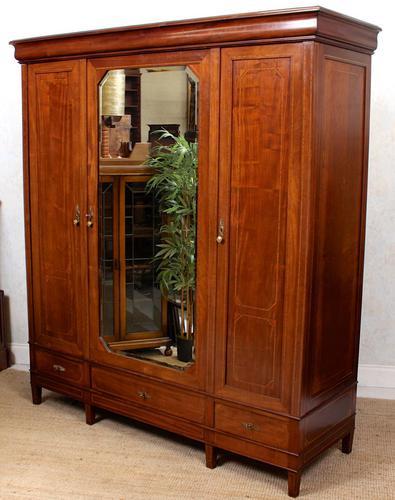 French Triple Wardrobe 19th Century Mahogany Mirrored (1 of 12)
