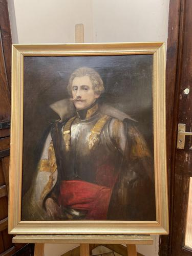 Military Officer In Armour Oil Portrait Painting On Canvas (1 of 10)