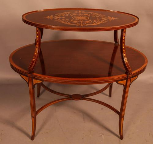Mahogany Etegair with Marquetry Inlay (1 of 11)