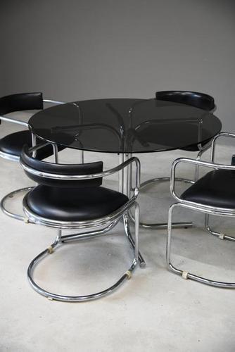 Retro Chrome Glass Dining Table (1 of 13)