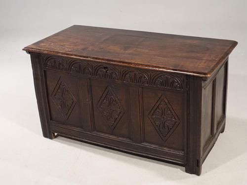 A Well Carved Early 18th Century Three Panelled Coffer (1 of 3)