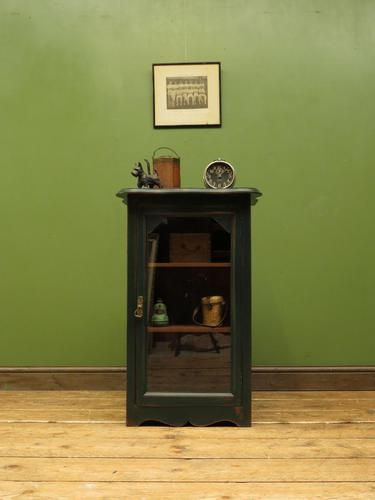 Small Green Painted Cabinet with Glazed Door, Industrial Green Cabinet (1 of 13)