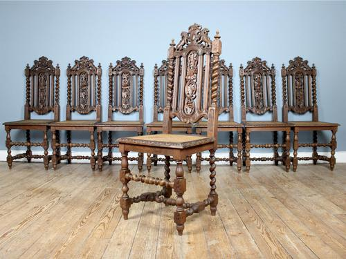 Rare Set of Eight 19th Century Hand Carved Dining Chairs (1 of 5)