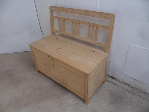 Victorian Antique Pine Kitchen / Hall Box Settle / Bench to Wax or Paint (1 of 10)
