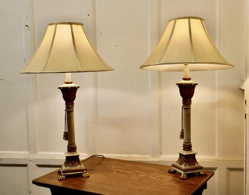 Pair of Shabby Crackle Painted Corinthian Column Lamps (1 of 12)