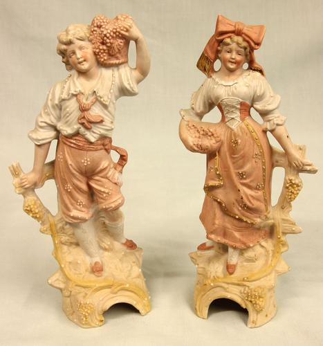 Pair of Bisque Figurines of Young Girl & Boy. (1 of 9)