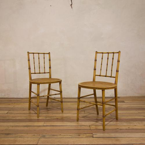 A Pair Of Late 19th Century Painted Faux Bamboo Side Chairs (1 of 11)