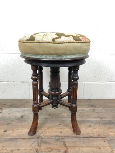Antique Victorian Walnut Piano Stool with Adjustable Height (1 of 11)