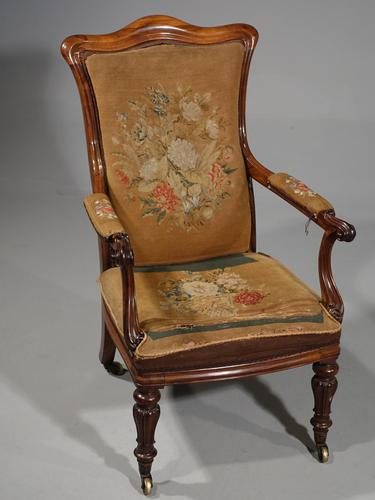 Shapely Mid 19th Century Rosewood Armchair (1 of 5)