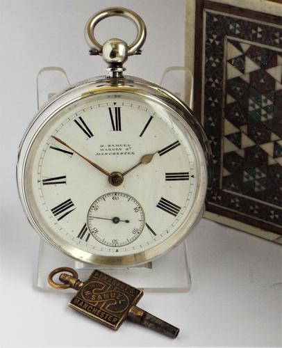 Antique Silver H Samuel Pocket Watch, 1890 (1 of 6)