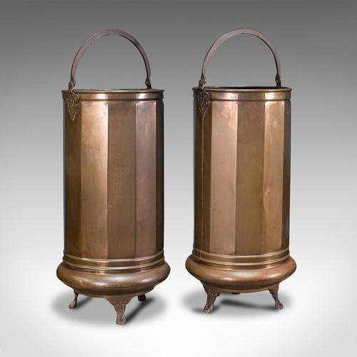 Pair of Antique Stick Stands, Brass, Umbrella Rack, Fireside Bin, Victorian (1 of 12)