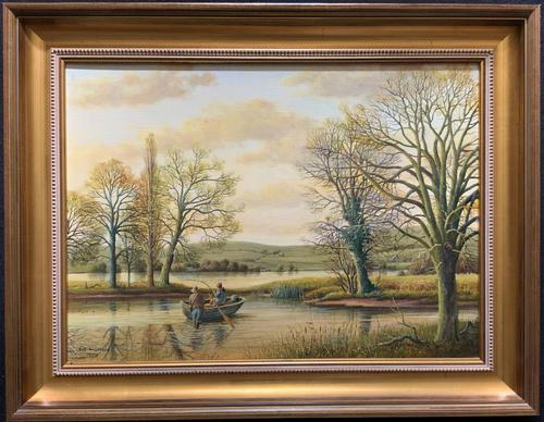 Fishing The River Ouse - Lovely Vintage North Yorkshire Riverscape Oil Painting (1 of 12)