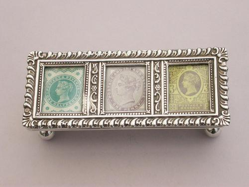 Edwardian Silver Triple Compartment Trough Shaped Stamp Box by Levi & Salaman, Birmingham 1901 (1 of 12)